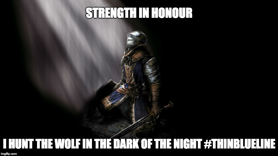 Strength In Honour | STRENGTH IN HONOUR I HUNT THE WOLF IN THE DARK OF THE NIGHT #THINBLUELINE | image tagged in strength in honour,thin blue line,i hunt the wolf | made w/ Imgflip meme maker