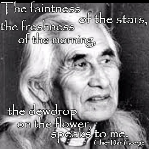 Chief Dan George - Geswanouth Slahoot,Born July 14, 1899.  He was Chief of the Tsleil-Waututh, of North Vancouver Canada  | The faintness speaks to me. of the stars, the freshness the dewdrop on the flower, of the morning, Chief Dan George | image tagged in salish indian,tribe,canada,vancouver,lodge,reserve | made w/ Imgflip meme maker