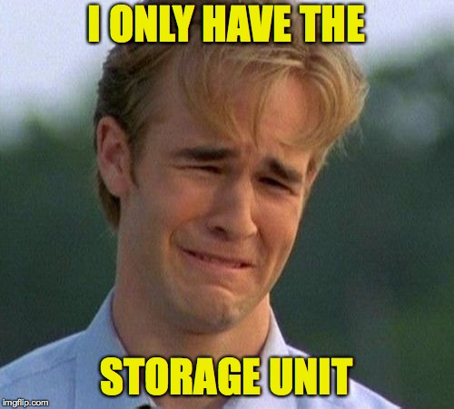 1990s First World Problems Meme | I ONLY HAVE THE STORAGE UNIT | image tagged in memes,1990s first world problems | made w/ Imgflip meme maker