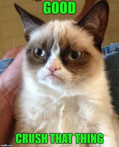 Grumpy Cat Meme | GOOD CRUSH THAT THING | image tagged in memes,grumpy cat | made w/ Imgflip meme maker