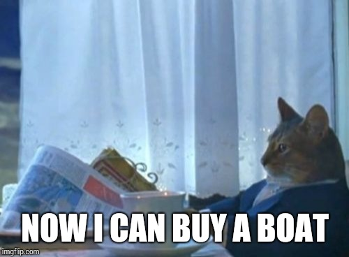 I Should Buy A Boat Cat Meme | NOW I CAN BUY A BOAT | image tagged in memes,i should buy a boat cat | made w/ Imgflip meme maker