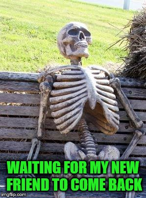 Waiting Skeleton Meme | WAITING FOR MY NEW FRIEND TO COME BACK | image tagged in memes,waiting skeleton | made w/ Imgflip meme maker