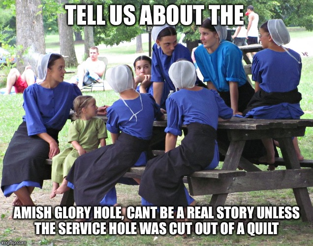 TELL US ABOUT THE AMISH GLORY HOLE, CANT BE A REAL STORY UNLESS THE SERVICE HOLE WAS CUT OUT OF A QUILT | image tagged in amish women party | made w/ Imgflip meme maker