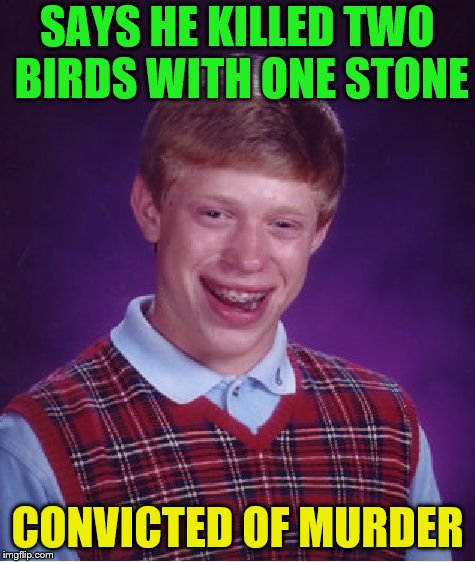 Bad Luck Brian Meme | SAYS HE KILLED TWO BIRDS WITH ONE STONE CONVICTED OF MURDER | image tagged in memes,bad luck brian | made w/ Imgflip meme maker