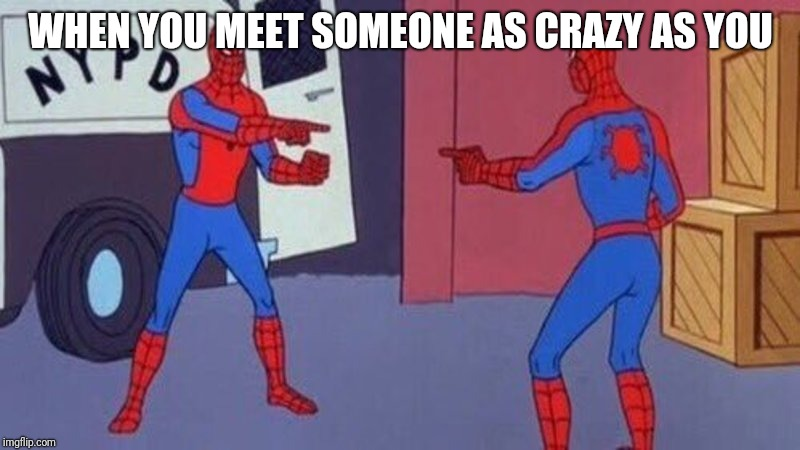 spiderman pointing at spiderman | WHEN YOU MEET SOMEONE AS CRAZY AS YOU | image tagged in spiderman pointing at spiderman | made w/ Imgflip meme maker