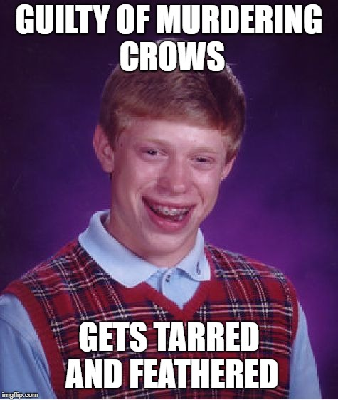 Bad Luck Brian Meme | GUILTY OF MURDERING CROWS GETS TARRED AND FEATHERED | image tagged in memes,bad luck brian | made w/ Imgflip meme maker