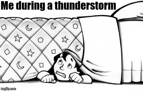 Pathetic, huh? | Me during a thunderstorm | image tagged in hiding | made w/ Imgflip meme maker
