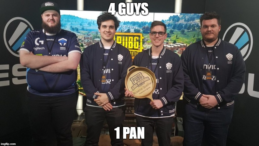 #TheChiefs#PGI2018 | 4 GUYS 1 PAN | image tagged in thechiefspgi2018 | made w/ Imgflip meme maker