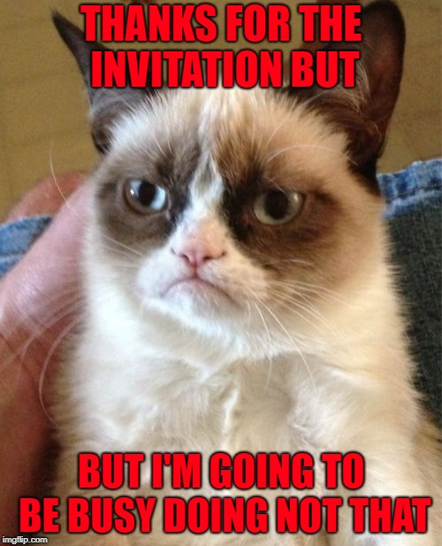 Just say No!!! I personally avoid any invitations that are gonna cost me a lot of money to accept!!! | THANKS FOR THE INVITATION BUT BUT I'M GOING TO BE BUSY DOING NOT THAT | image tagged in memes,grumpy cat,unwanted invitations,funny,cats,just say no | made w/ Imgflip meme maker