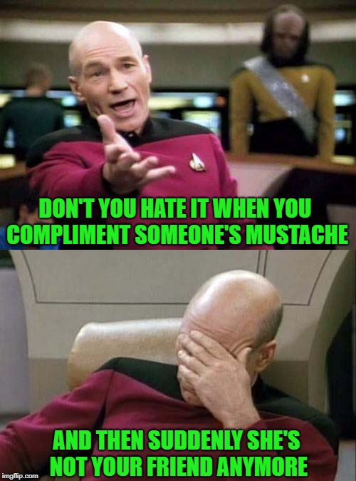 How do you women cope with kissing a man with a mustache? | DON'T YOU HATE IT WHEN YOU COMPLIMENT SOMEONE'S MUSTACHE AND THEN SUDDENLY SHE'S NOT YOUR FRIEND ANYMORE | image tagged in picard double,memes,mustache,funny,star trek,5 dollar shave club | made w/ Imgflip meme maker