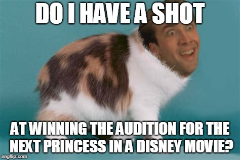 DO I HAVE A SHOT AT WINNING THE AUDITION FOR THE NEXT PRINCESS IN A DISNEY MOVIE? | made w/ Imgflip meme maker