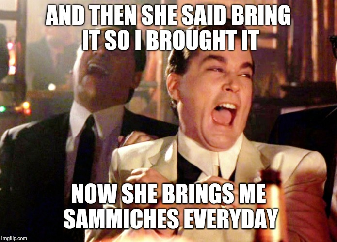 Good Fellas Hilarious Meme | AND THEN SHE SAID BRING IT SO I BROUGHT IT NOW SHE BRINGS ME SAMMICHES EVERYDAY | image tagged in memes,good fellas hilarious | made w/ Imgflip meme maker