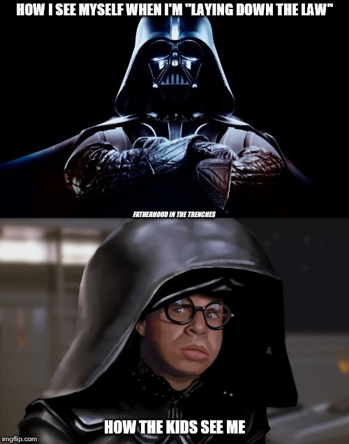 Expectations Vs. Reality | FATHERHOOD IN THE TRENCHES | image tagged in darth vader,dark helmet,laying down the law | made w/ Imgflip meme maker