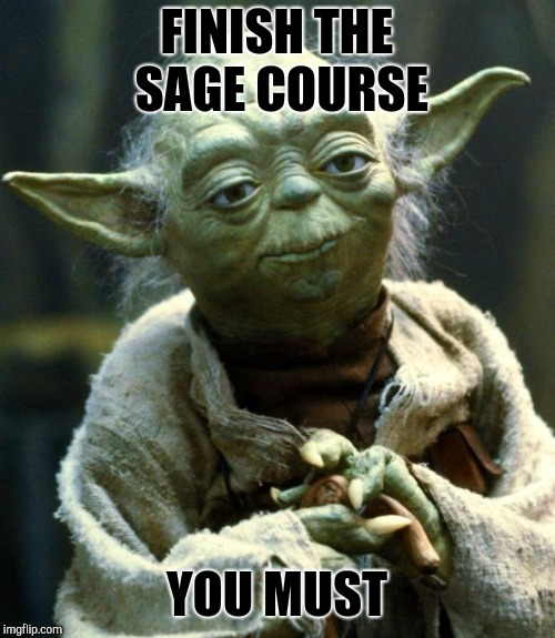 Star Wars Yoda Meme | FINISH THE SAGE COURSE YOU MUST | image tagged in memes,star wars yoda | made w/ Imgflip meme maker