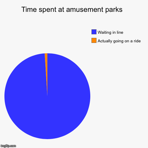 Time spent at amusement parks  | Actually going on a ride, Waiting in line | image tagged in funny,pie charts,amusement park | made w/ Imgflip pie chart maker
