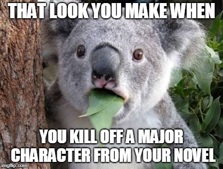Stunned Koala | THAT LOOK YOU MAKE WHEN YOU KILL OFF A MAJOR CHARACTER FROM YOUR NOVEL | image tagged in stunned koala | made w/ Imgflip meme maker