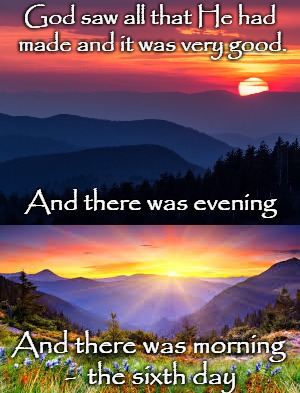 Genesis 1:31 God Saw All That He Had Made An It Was Very Good | God saw all that He had made and it was very good. And there was morning -  the sixth day And there was evening | image tagged in bible,holy bible,god,bible verse,holy spirit,verse | made w/ Imgflip meme maker