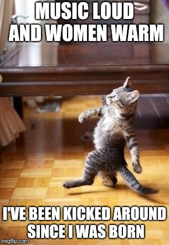 Cool Cat Stroll Meme | MUSIC LOUD AND WOMEN WARM I'VE BEEN KICKED AROUND SINCE I WAS BORN | image tagged in memes,cool cat stroll | made w/ Imgflip meme maker