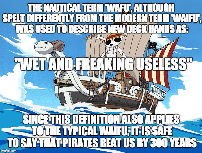 Pirates beat weebs by 300 years | THE NAUTICAL TERM 'WAFU', ALTHOUGH SPELT DIFFERENTLY FROM THE MODERN TERM 'WAIFU', WAS USED TO DESCRIBE NEW DECK HANDS AS: SINCE THIS DEFINI | image tagged in anime,pirates,savage,waifu,memes,one piece | made w/ Imgflip meme maker