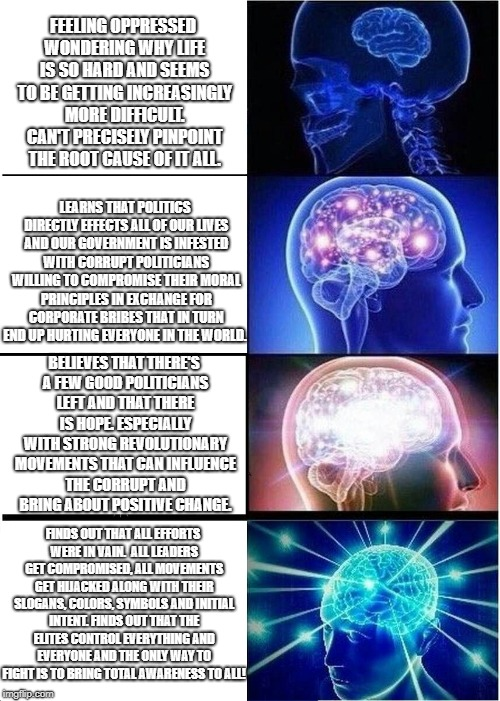 Expanding Brain Meme | FEELING OPPRESSED WONDERING WHY LIFE IS SO HARD AND SEEMS TO BE GETTING INCREASINGLY MORE DIFFICULT. CAN'T PRECISELY PINPOINT THE ROOT CAUSE | image tagged in memes,expanding brain | made w/ Imgflip meme maker
