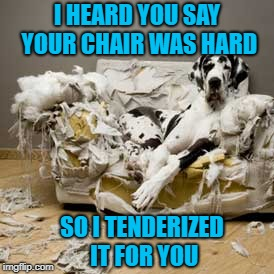 I HEARD YOU SAY YOUR CHAIR WAS HARD SO I TENDERIZED IT FOR YOU | made w/ Imgflip meme maker