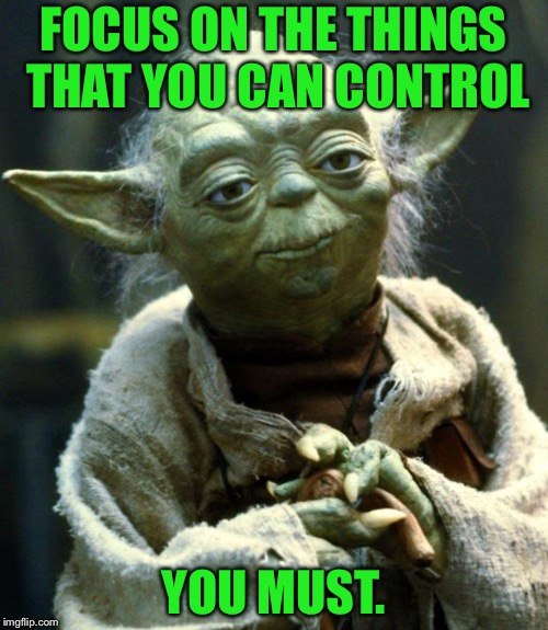 Star Wars Yoda Meme | FOCUS ON THE THINGS THAT YOU CAN CONTROL YOU MUST. | image tagged in memes,star wars yoda | made w/ Imgflip meme maker