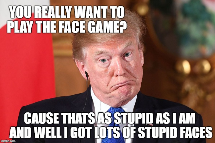 Trump dumbfounded | YOU REALLY WANT TO PLAY THE FACE GAME? CAUSE THATS AS STUPID AS I AM AND WELL I GOT LOTS OF STUPID FACES | image tagged in trump dumbfounded | made w/ Imgflip meme maker
