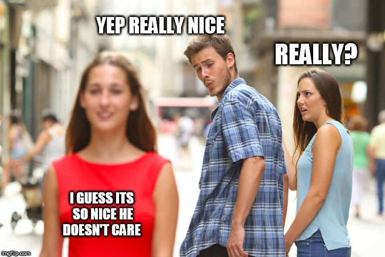 Distracted Boyfriend Meme | REALLY? YEP REALLY NICE I GUESS ITS SO NICE HE DOESN'T CARE | image tagged in memes,distracted boyfriend | made w/ Imgflip meme maker