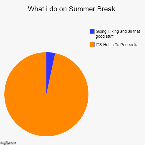 What i do on Summer Break | ITS Hot in To Peeeeeka, Going Hiking and all that good stuff | image tagged in funny,pie charts | made w/ Imgflip pie chart maker
