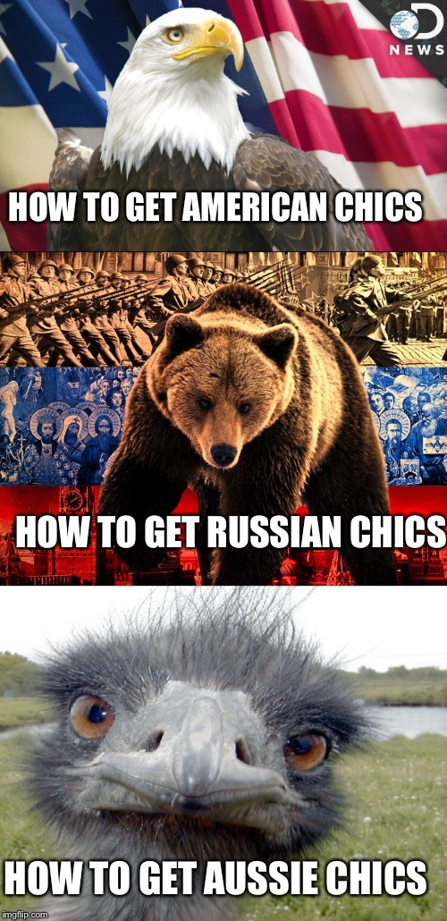 HOW TO GET AMERICAN CHICS HOW TO GET AUSSIE CHICS HOW TO GET RUSSIAN CHICS | made w/ Imgflip meme maker