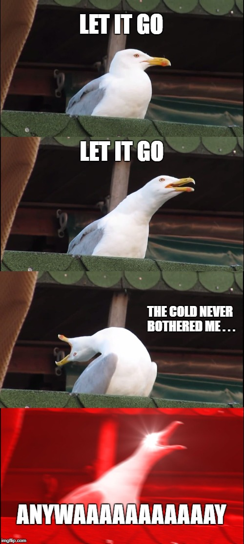 When I'm in bathroom  | LET IT GO LET IT GO THE COLD NEVER BOTHERED ME . . . ANYWAAAAAAAAAAAY | image tagged in memes,inhaling seagull | made w/ Imgflip meme maker