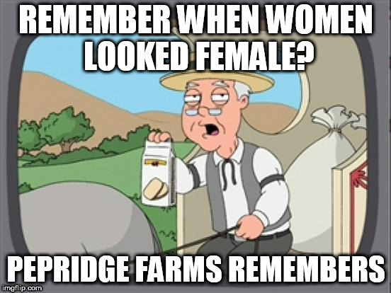 pepridge farm rembers | REMEMBER WHEN WOMEN LOOKED FEMALE? PEPRIDGE FARMS REMEMBERS | image tagged in pepridge farm rembers | made w/ Imgflip meme maker