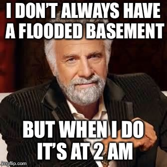 Dos Equis Guy Awesome | I DON'T ALWAYS HAVE A FLOODED BASEMENT BUT WHEN I DO IT'S AT 2 AM | image tagged in dos equis guy awesome | made w/ Imgflip meme maker