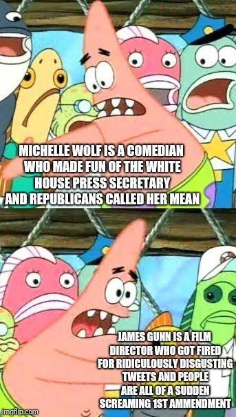 Put It Somewhere Else Patrick Meme | MICHELLE WOLF IS A COMEDIAN WHO MADE FUN OF THE WHITE HOUSE PRESS SECRETARY AND REPUBLICANS CALLED HER MEAN JAMES GUNN IS A FILM DIRECTOR WH | image tagged in memes,put it somewhere else patrick | made w/ Imgflip meme maker