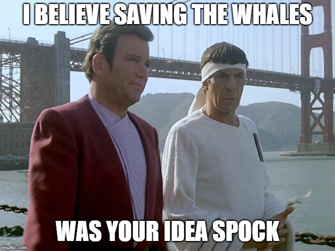 I BELIEVE SAVING THE WHALES WAS YOUR IDEA SPOCK | made w/ Imgflip meme maker