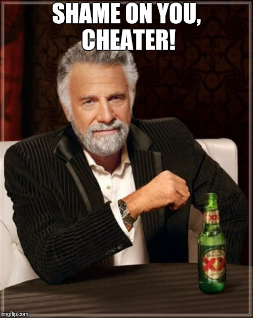 The Most Interesting Man In The World Meme | SHAME ON YOU, CHEATER! | image tagged in memes,the most interesting man in the world | made w/ Imgflip meme maker