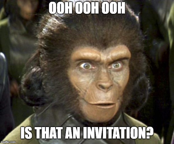 Planet of the Apes Zira | OOH OOH OOH IS THAT AN INVITATION? | image tagged in planet of the apes zira | made w/ Imgflip meme maker