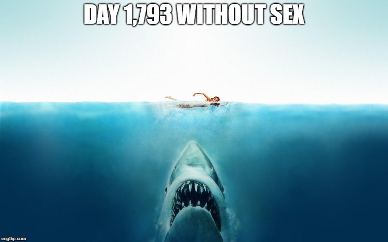 Jaws | DAY 1,793 WITHOUT SEX | image tagged in jaws | made w/ Imgflip meme maker