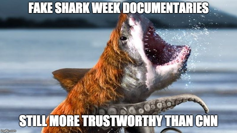 Shark Week 2018! | FAKE SHARK WEEK DOCUMENTARIES STILL MORE TRUSTWORTHY THAN CNN | image tagged in shark week,cnn fake news,cnn,bearshark | made w/ Imgflip meme maker