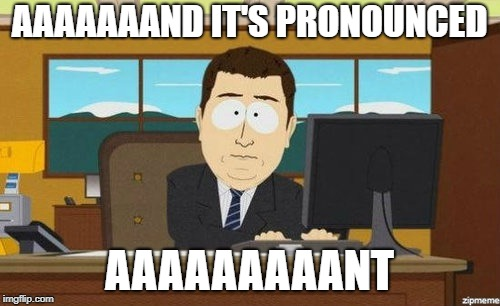 Aaaand it's gone  | AAAAAAAND IT'S PRONOUNCED AAAAAAAAANT | image tagged in aaaand it's gone | made w/ Imgflip meme maker