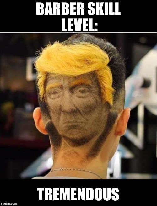 Tremendous, like you have never seen before! | BARBER SKILL LEVEL: TREMENDOUS | image tagged in barber,maga | made w/ Imgflip meme maker