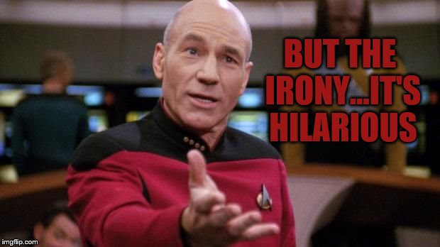captain picard | BUT THE IRONY...IT'S HILARIOUS | image tagged in captain picard | made w/ Imgflip meme maker