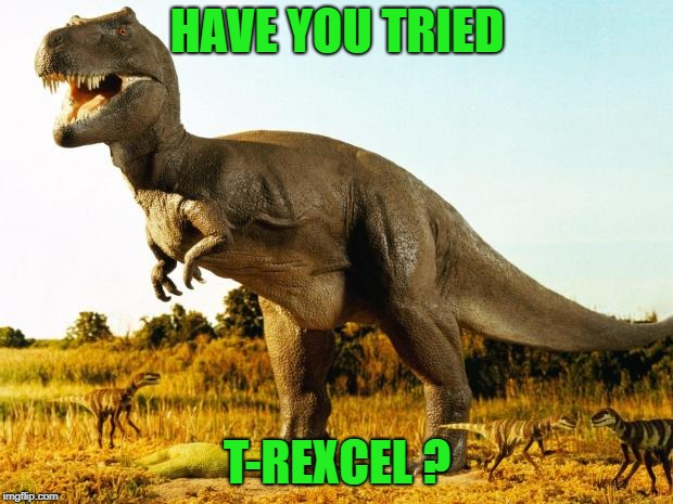 T-Rex | HAVE YOU TRIED T-REXCEL ? | image tagged in t-rex | made w/ Imgflip meme maker