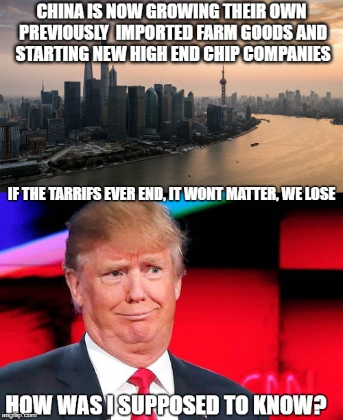 This will end badly for decades | CHINA IS NOW GROWING THEIR OWN PREVIOUSLY  IMPORTED FARM GOODS AND STARTING NEW HIGH END CHIP COMPANIES HOW WAS I SUPPOSED TO KNOW? IF THE T | image tagged in memes,trump,economy,tariffs,idiot | made w/ Imgflip meme maker