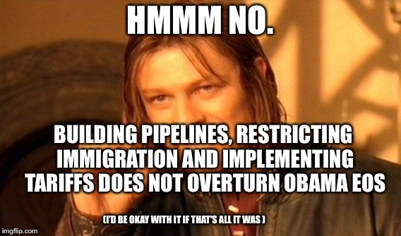 One Does Not Simply Meme | HMMM NO. BUILDING PIPELINES, RESTRICTING IMMIGRATION AND IMPLEMENTING TARIFFS DOES NOT OVERTURN OBAMA EOS (I'D BE OKAY WITH IT IF THAT'S ALL | image tagged in memes,one does not simply | made w/ Imgflip meme maker