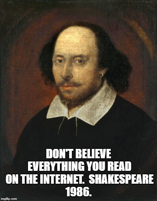 DON'T BELIEVE EVERYTHING YOU READ ON THE INTERNET.  SHAKESPEARE 1986. | image tagged in william shakespeare | made w/ Imgflip meme maker