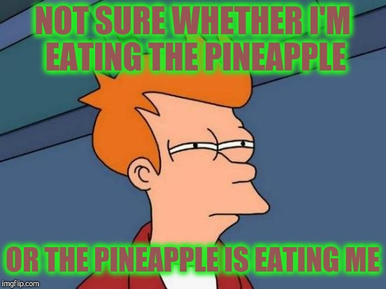 Futurama Fry Meme | NOT SURE WHETHER I'M EATING THE PINEAPPLE OR THE PINEAPPLE IS EATING ME | image tagged in memes,futurama fry | made w/ Imgflip meme maker