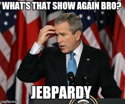 George w Bush | WHAT'S THAT SHOW AGAIN BRO? JEBPARDY | image tagged in george w bush | made w/ Imgflip meme maker