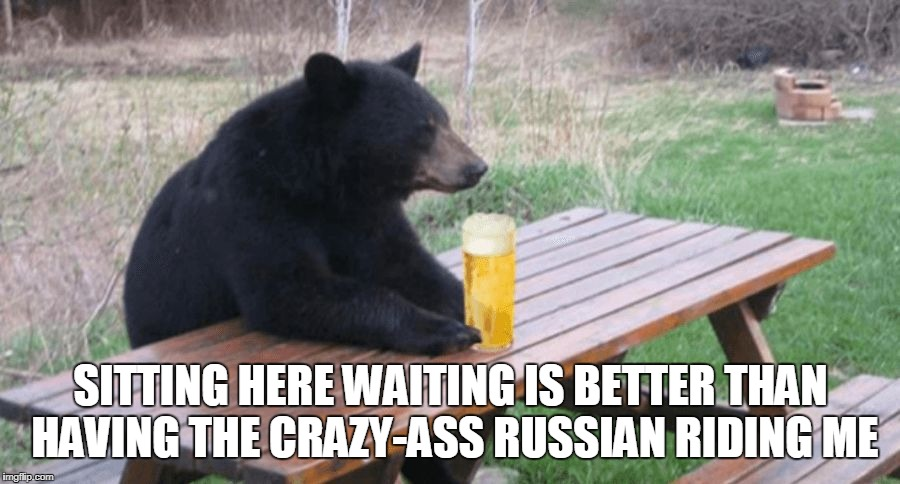 Bad Luck Bear with Beer | SITTING HERE WAITING IS BETTER THAN HAVING THE CRAZY-ASS RUSSIAN RIDING ME | image tagged in bad luck bear with beer | made w/ Imgflip meme maker