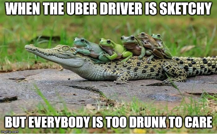 WHEN THE UBER DRIVER IS SKETCHY BUT EVERYBODY IS TOO DRUNK TO CARE | image tagged in memes,uber | made w/ Imgflip meme maker